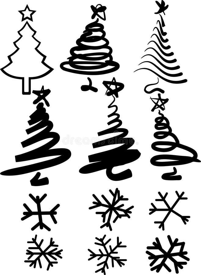 Noël-arbres et flocons de neige illustration stock