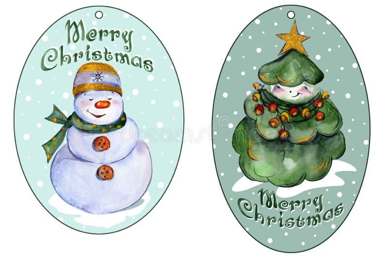 Noël arrondi étiquette pour des présents avec l'arbre et le bonhomme de neige de Noël de sourire illustration stock