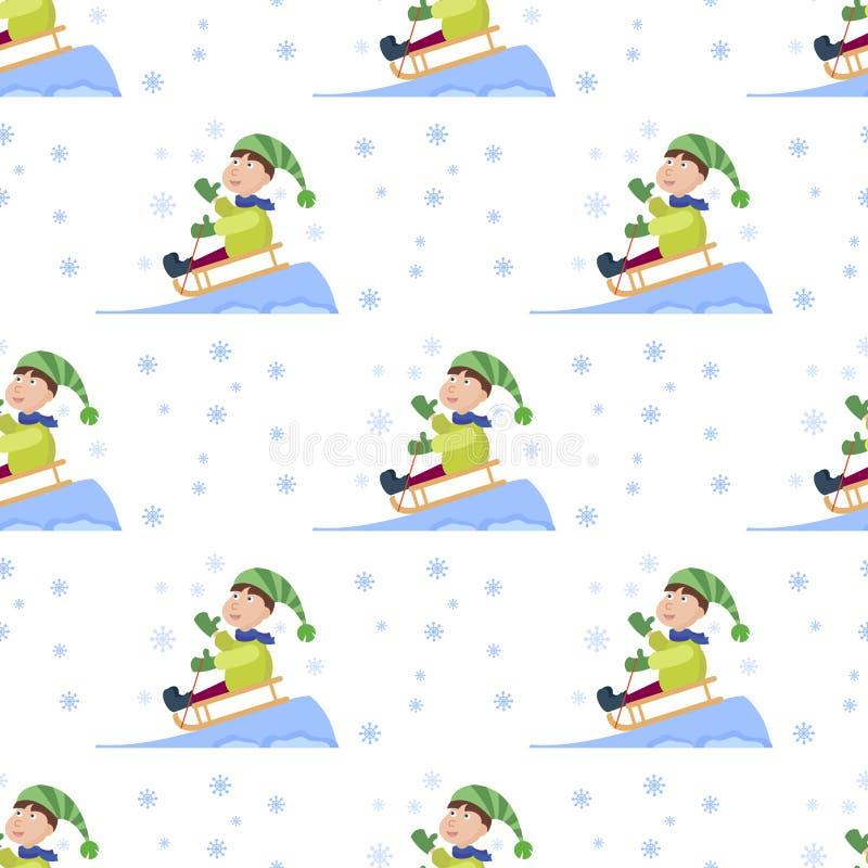 Noël badine jouer le vecteur sans couture de fond de vacances d'hiver de nouvelle année de bande dessinée de fond de modèle de je illustration de vecteur