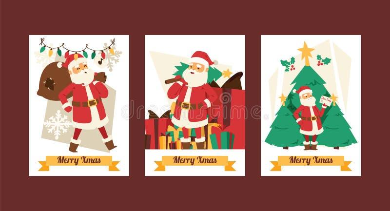 Noël bande dessinée de Noël d'hiver de 2019 de bonne année de carte de voeux de Santa Claus de vecteur de fond vacances de banniè illustration de vecteur