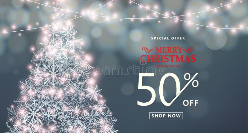 Noël, bannière de vente de bonne année Offre spéciale, type texte de remise illustration de vecteur