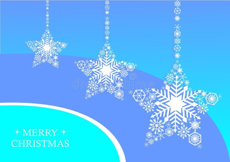 Noël blanc se tient le premier rôle avec des flocons de neige sur un fond bleu photographie stock