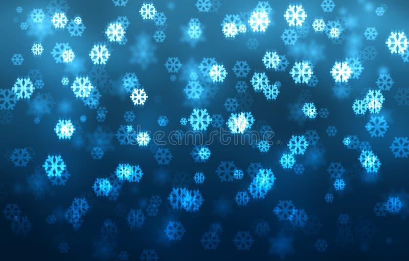 Noël a brouillé le fond de bokeh, flocons de neige en baisse, gra bleu illustration stock