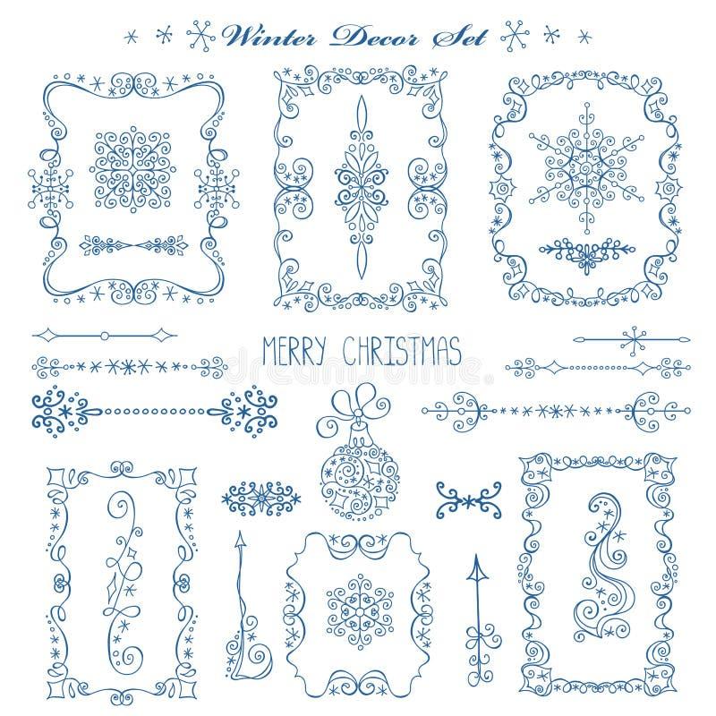 Noël, cadres de nouvelle année, frontières Ensemble de décor illustration libre de droits