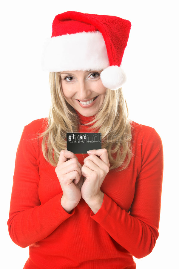 Noël - carte de cadeau de fille de Santa image libre de droits