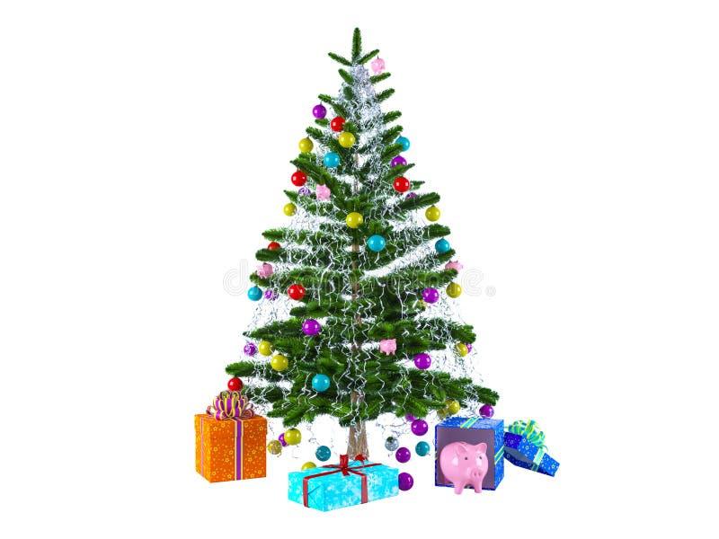 Noël a décoré l'arbre de cadeaux images libres de droits