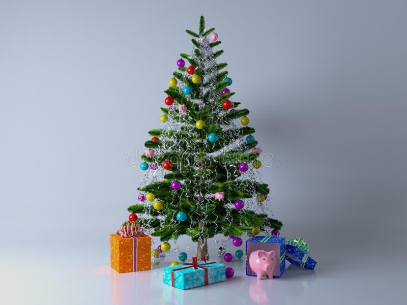 Noël a décoré l'arbre de cadeaux photo libre de droits