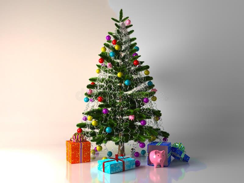Noël a décoré l'arbre de cadeaux photos libres de droits