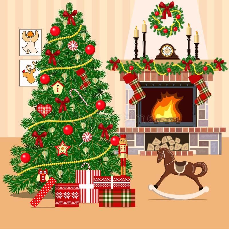 Noël a décoré la pièce avec l'arbre et la cheminée de Noël Style plat illustration libre de droits