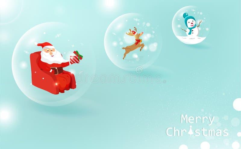 Noël, décoration brillante de boule, Santa Claus avec le cadeau, reinde illustration de vecteur