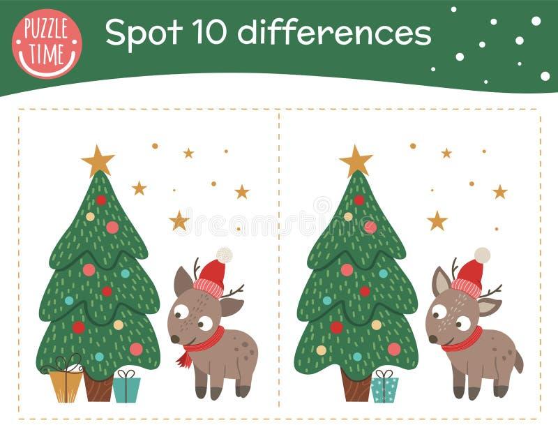 Noël découvre les différences jeu pour les enfants Animation préscolaire festive d'Holyday avec petit cerf et sapin Puzzle du Nou illustration libre de droits