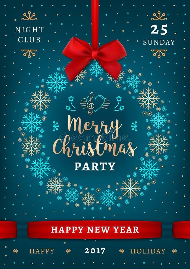 Noël d'affiche et bonne année, fête de vacances, plaquette élégante illustration libre de droits