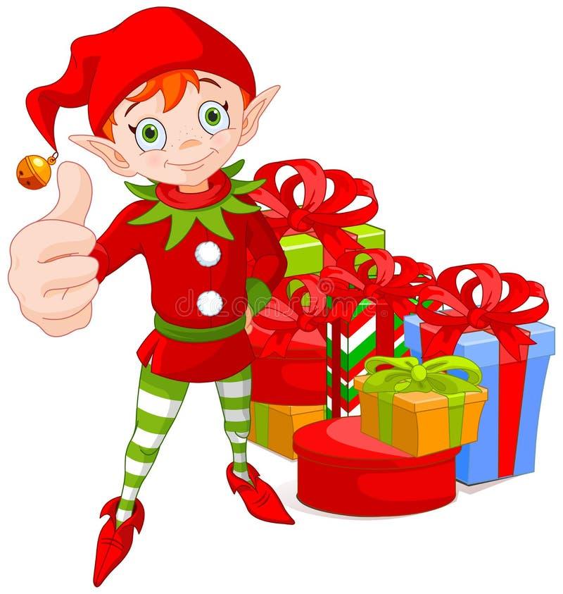 Noël d'une chevelure rouge Elf supportant un pouce illustration de vecteur