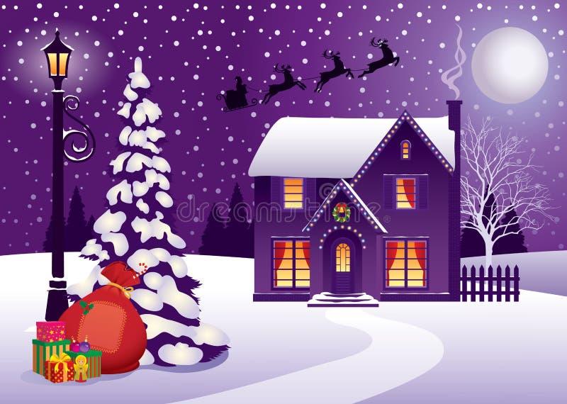 Noël dans le village illustration stock