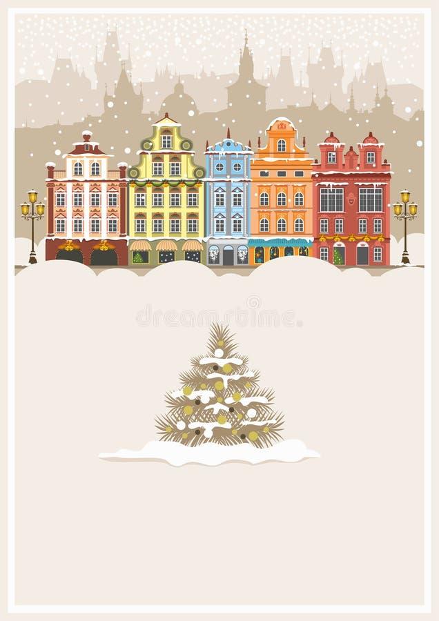 Noël dans une ville neigeuse illustration libre de droits