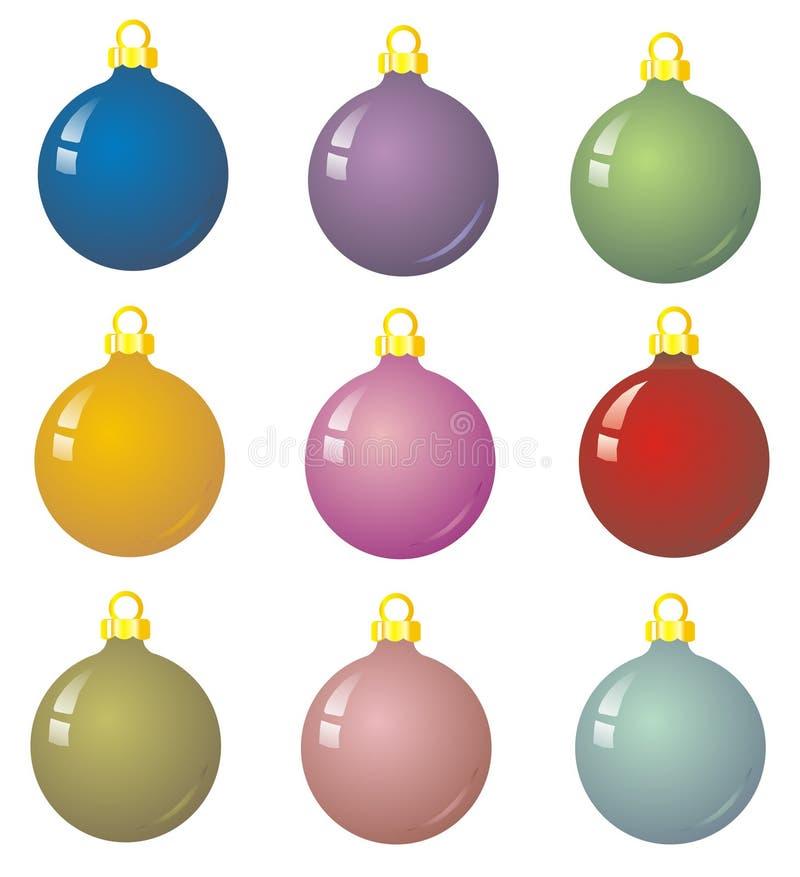 Noël de 9 babioles illustration de vecteur