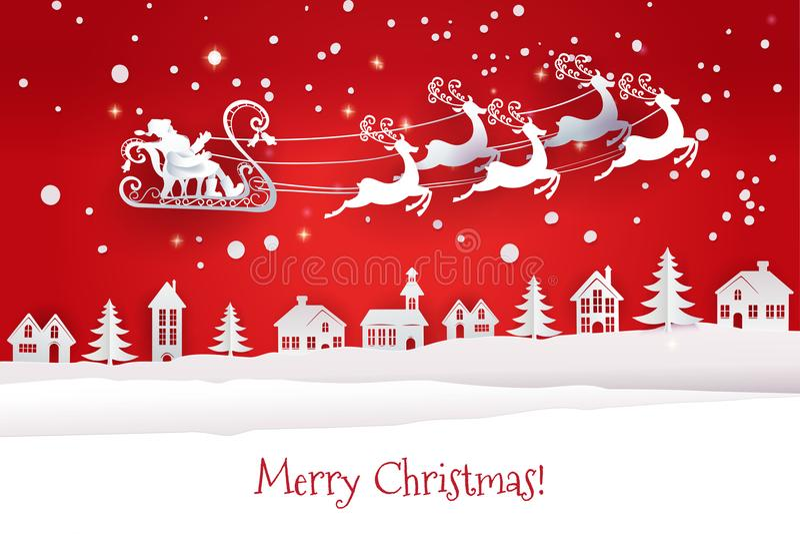 Noël de coupe de papier sur le rouge illustration de vecteur