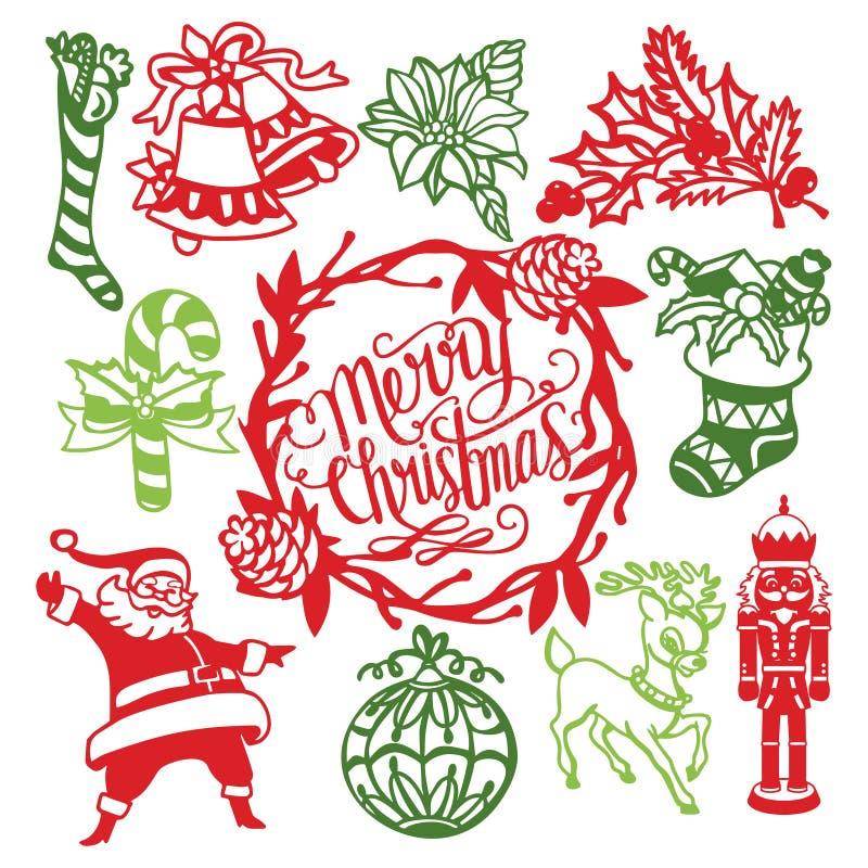 Noël de cru ornemente l'ensemble d'éléments de papier de conception de coupe illustration libre de droits