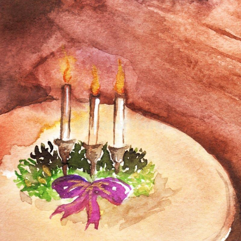 Noël de décoration d'antiquité de vintage de bougeoir d'aquarelle illustration libre de droits