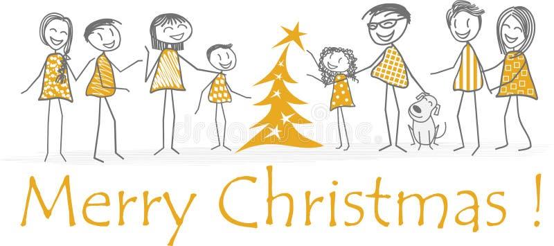 Noël de famille avec des amis autour d'un arbre de sapin photographie stock