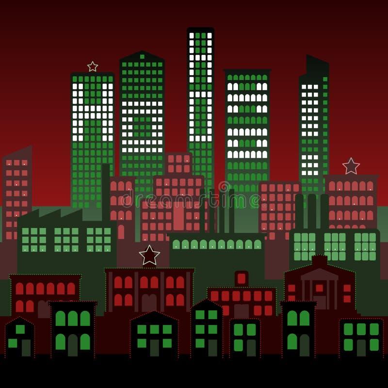 Noël de nuit de ville de fond illustration de vecteur