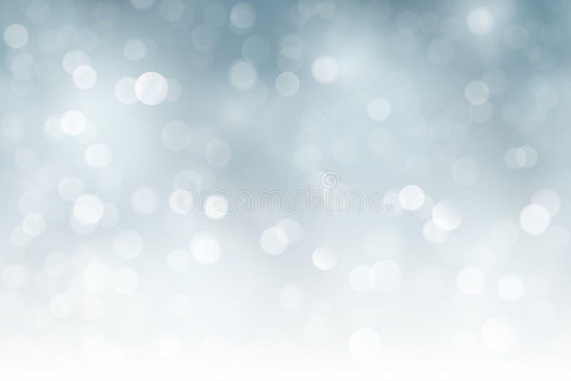 Noël de scintillement argenté, lumières troubles de vacances, bokeh illustration stock