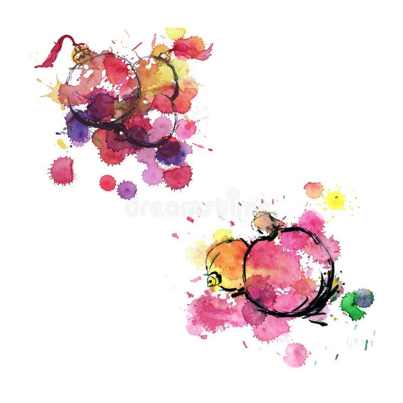 Noël de vacances de nouvelle année joue - le croquis d'aquarelle illustration de vecteur