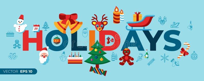 Noël de vecteur de Digital Joyeux et vacances d'hiver illustration libre de droits