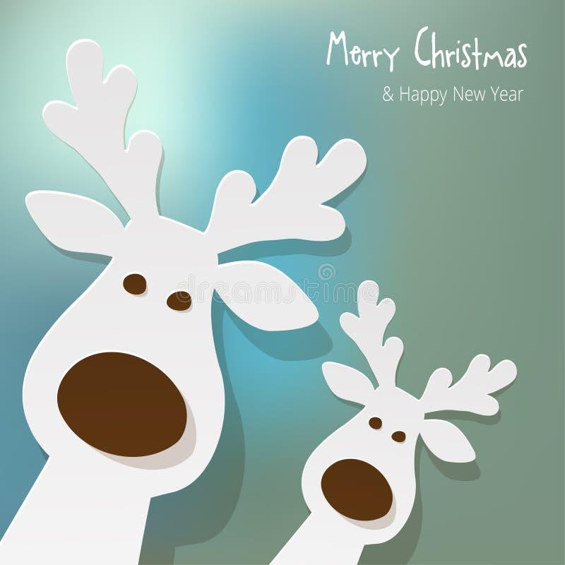 Noël deux rennes blancs sur un fond bleu de bokeh illustration libre de droits