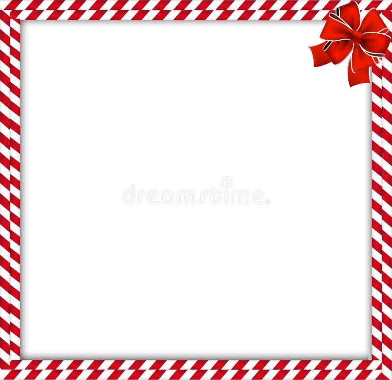 Noël, double frontière de canne de sucrerie de nouvelle année avec le modèle rayé et ruban illustration stock
