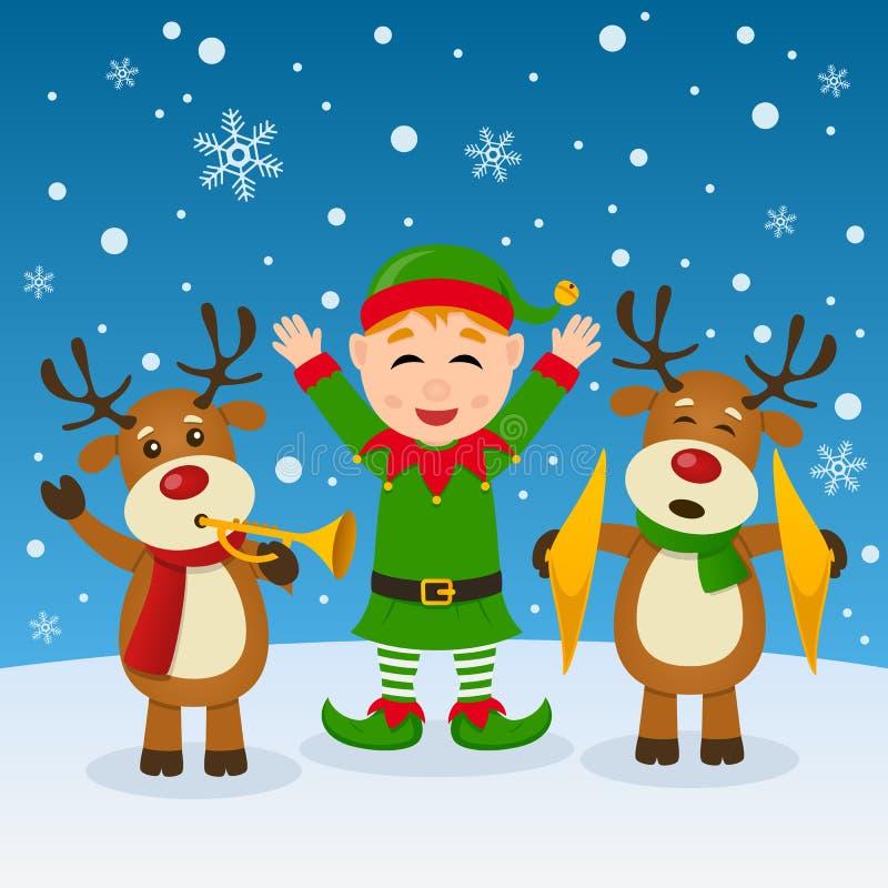 Noël Elf et renne jouant la musique illustration stock