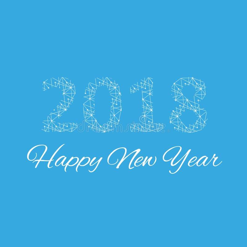 Noël et bonne année 2018 de conception des textes Molécule graphique et communication de fond Lignes reliées avec des points illustration libre de droits