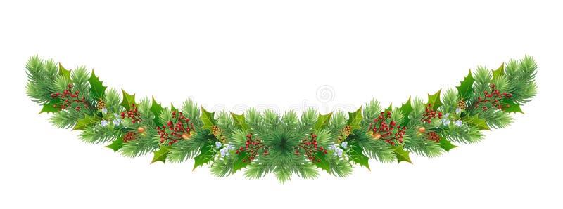 Noël et Joyeux Nouvel An, frontière/couronne/guirlande avec branches d'arbres fruitiers et baies rouges, cônes, glands, guirlons illustration stock