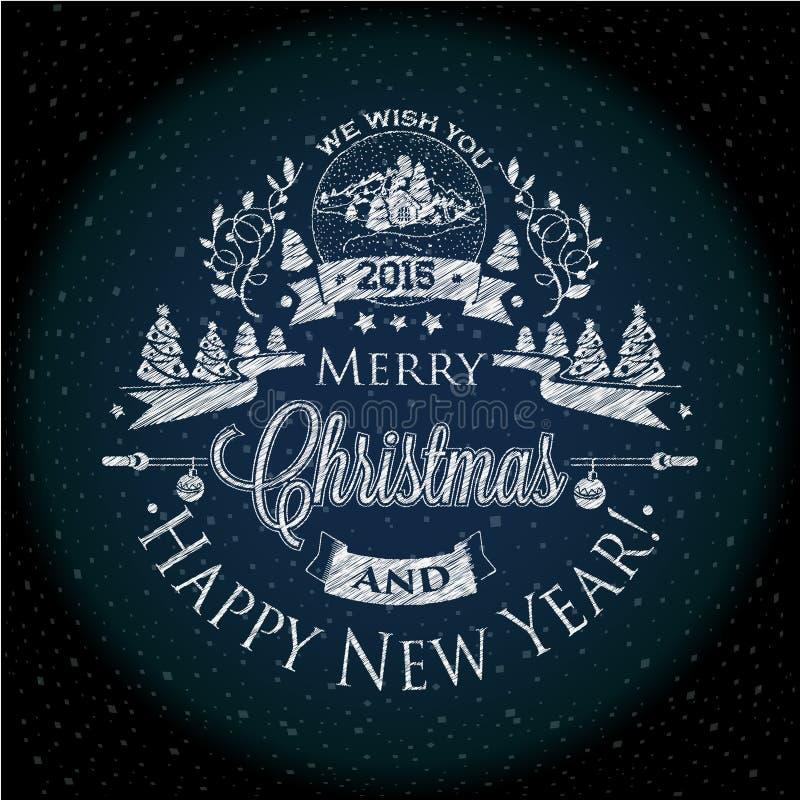 Noël et la nouvelle année marquent l'effet de la craie pour vous conception illustration libre de droits