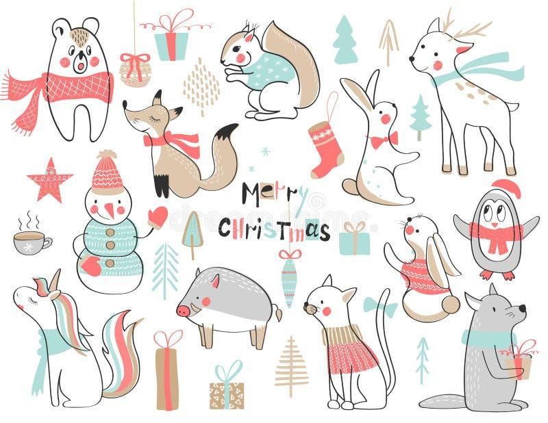 Noël et an neuf Ensemble mignon avec les animaux tirés par la main mignons Illustration de vecteur illustration libre de droits