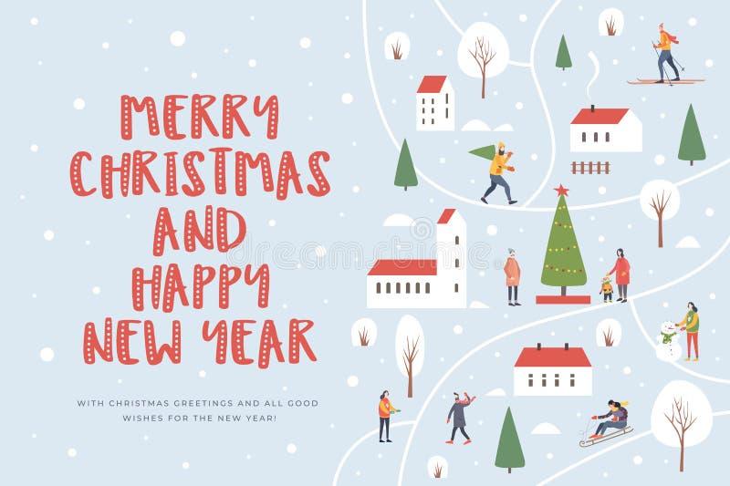 Noël et an neuf heureux Carte d'une ville d'hiver avec des maisons et avec les arbres couverts de neige, personnes de marche illustration libre de droits