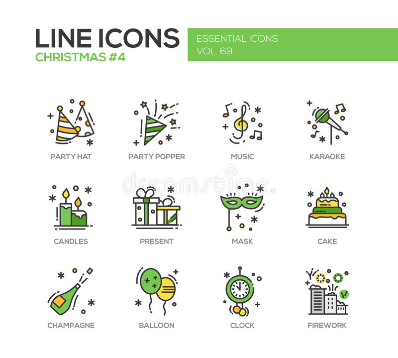 Noël et nouvelle année - ligne icônes de conception réglées illustration stock