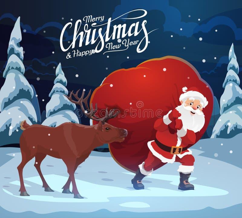Noël et nouvelle année, Santa Claus avec des cerfs communs, sac illustration stock