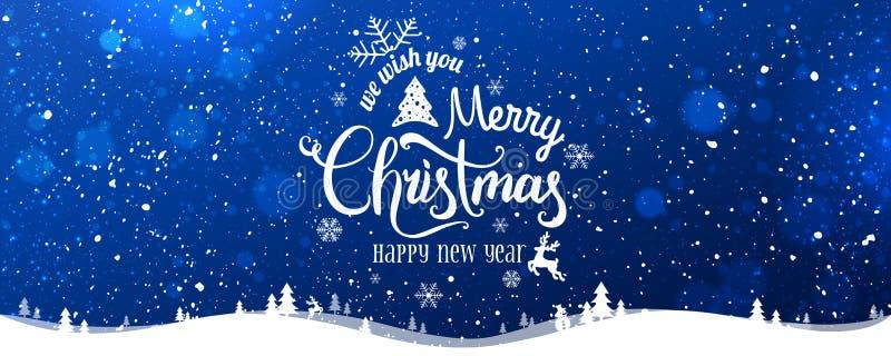 Noël et nouvelle année typographiques sur le fond neigeux de Noël avec le paysage d'hiver avec des flocons de neige, lumière, éto illustration libre de droits