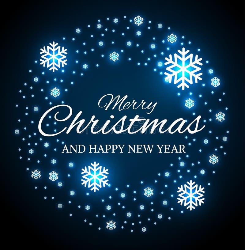 Noël et nouvelles années de guirlande avec des flocons de neige illustration stock