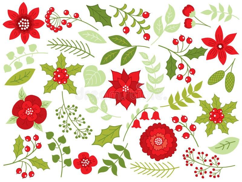 Noël floral de vecteur réglé avec des fleurs, des baies et des feuilles illustration de vecteur