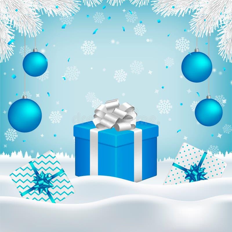 Noël, fond de nouvelle année avec des boîte-cadeau illustration stock