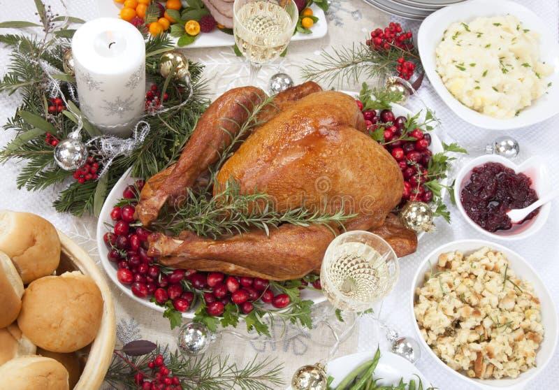 Noël fumait la Turquie et le jambon photographie stock