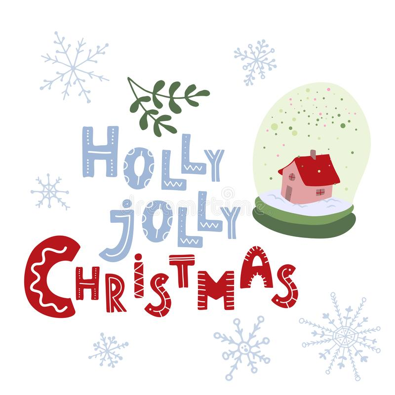 Noël gai de houx Lettrage tiré par la main blanc de vecteur de neige d'isolement par illustration de globe illustration de vecteur