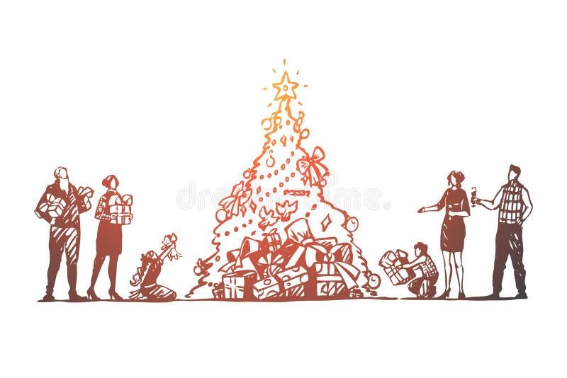 Noël, grande famille, arbre, célébration, concept heureux Vecteur d'isolement tiré par la main illustration de vecteur