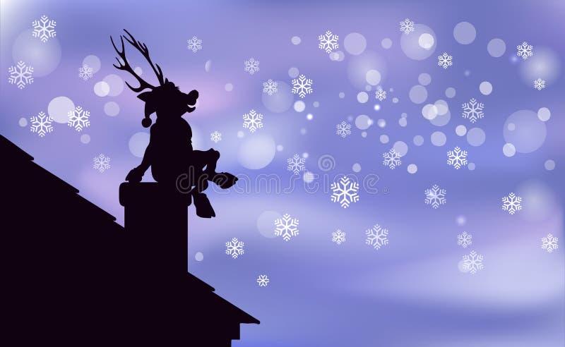 Noël heureux de fond de Santa Claus Artwork de renne, jeune faon est une silhouette noire se reposant sur la cheminée, snowfa app illustration stock