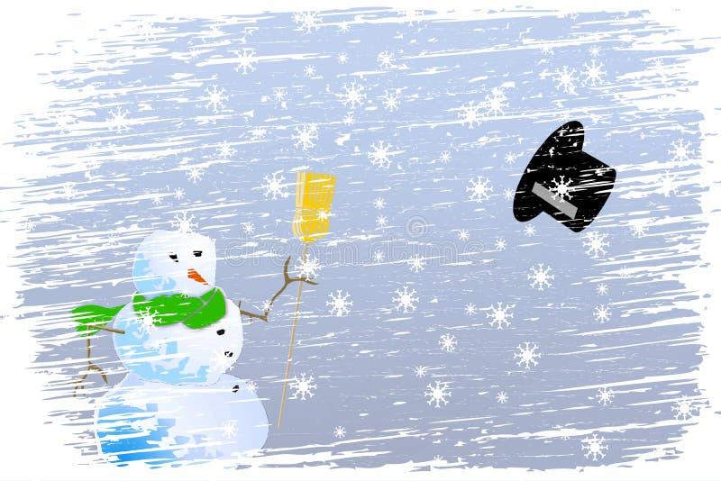 Noël heureux de tempête de neige illustration de vecteur