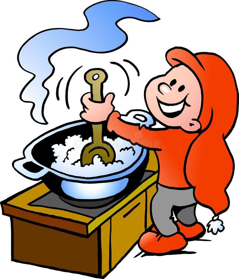 Noël heureux Elf faisant cuire la nourriture illustration libre de droits