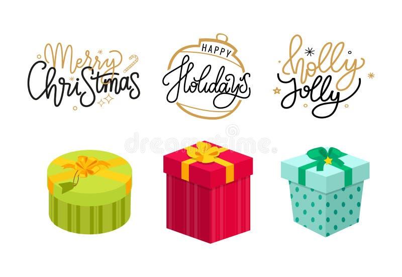 Noël Holly Jolly Holidays Lettering Postcards illustration de vecteur