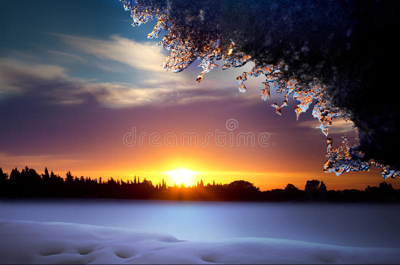 Noël. Horizontal de l'hiver de conte de fées. photos libres de droits